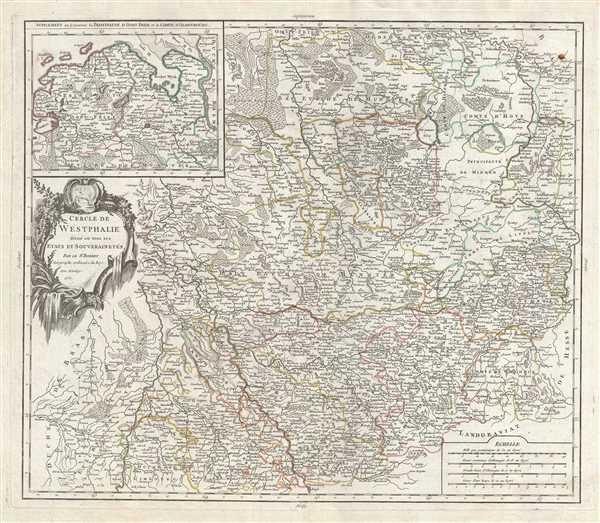 Cercle de Westphalie divise en tous ses etats et souverainetes.