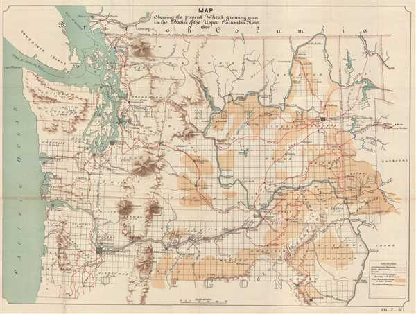 1892 U.S. Government Map of Wheat Production in Washington State