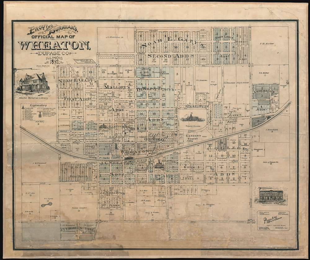 1892 Prout and Burnham City Plan or Map of Wheaton, Illinois