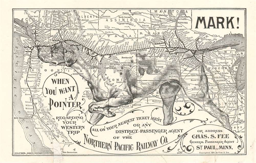 1906 Northern Pacific Railway 'Pointer' Dog Map of the Western United States