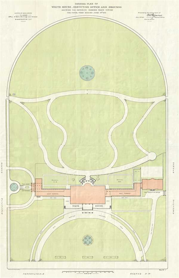 General Plan of the White House, Executive Office and Grounds Showing the Exterior Changes Made During the Fiscal Year Ending June 30th, 1903.