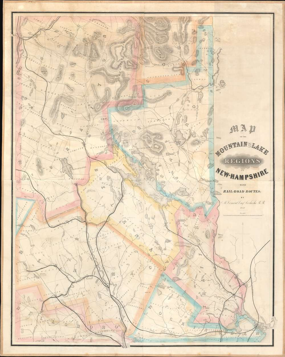 Map of the Mountain and Lake Regions of New Hampshire with Rail-Road Routes. - Main View