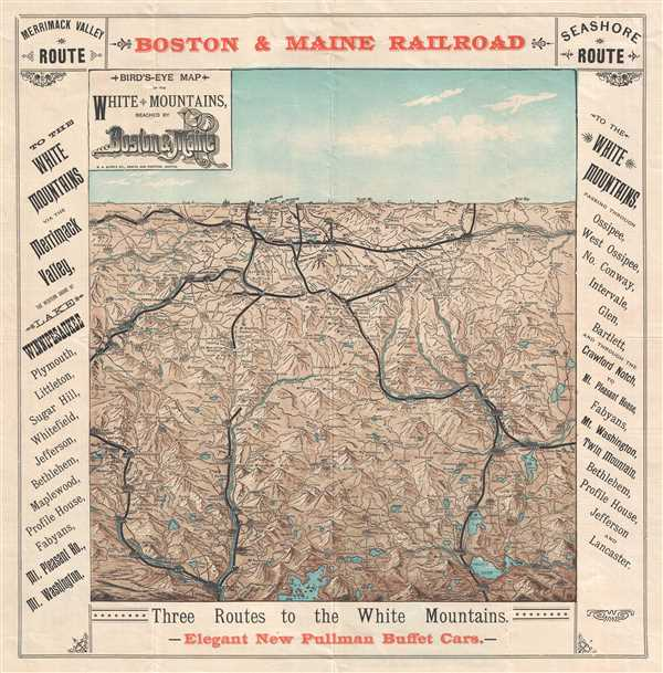 Jefferson Maine Map.Bird S Eye Map Of The White Mountains Reached By Boston And Maine