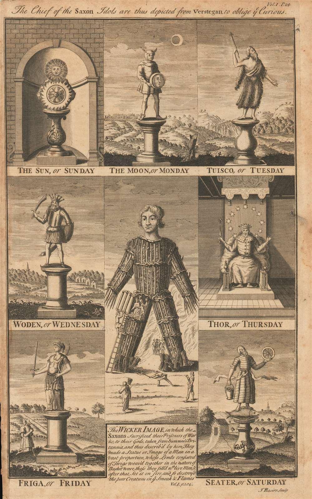 1700 Basire Engraving of Anglo-Saxon Idols and the Wicker Man