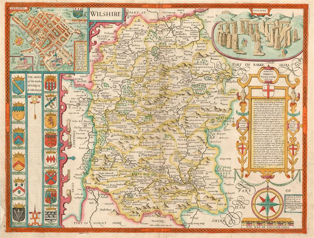 1676 John Speed County Map of Wiltshire, Depicting Stonehenge
