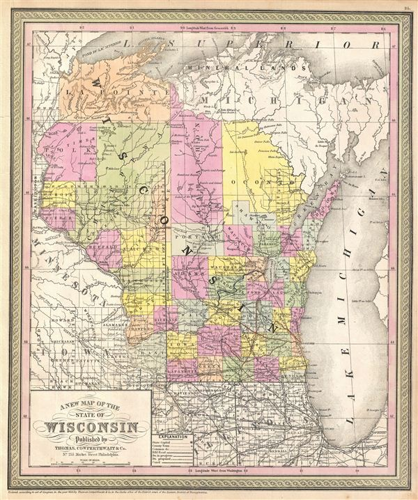 A New Map of the State of Wisconsin. - Main View