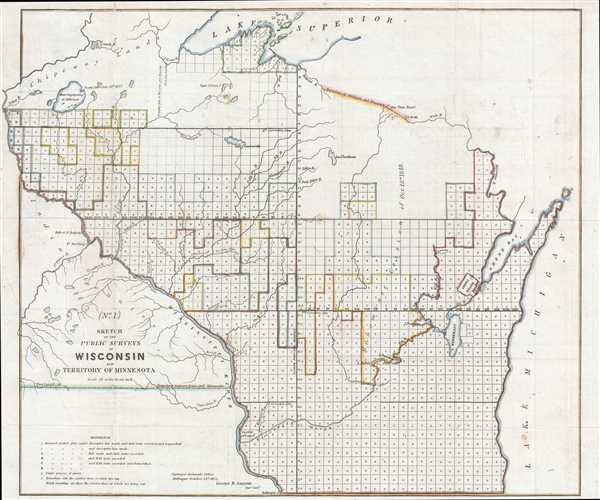 No. 1. Sketch of the Public Surveys in Wisconsin and Territory of Minnesota.