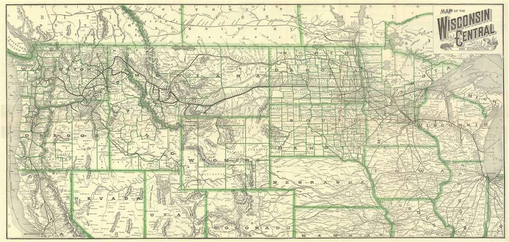 1890 Wisconsin Central Railroad Map of the Northern United States