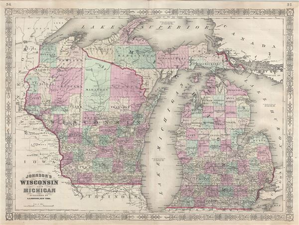 Michigan And Wisconsin Geographicus Rare Antique Maps