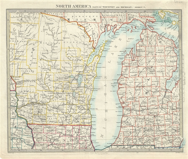 North America Parts of Wisconsin and Michigan. Sheet V.