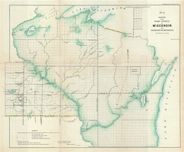 (No. 1.) Sketch of the Public Surveys in Wisconsin and Territory of Minnesota.