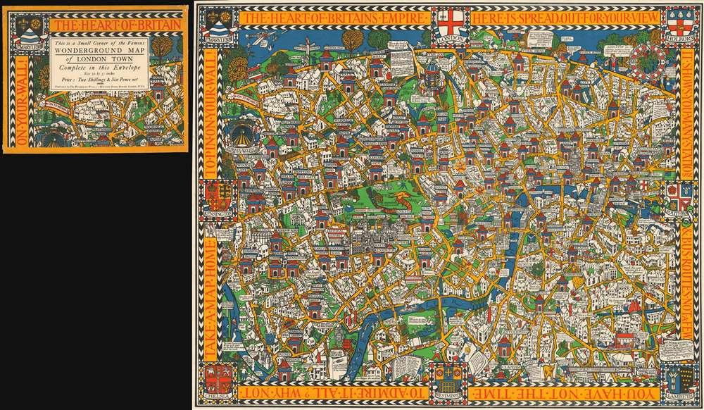 1928 Macdonald Gill Pictorial Wonderground Map of London