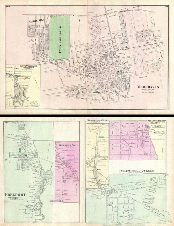 1873 Beers Map of Woodhaven, Queens, New York City