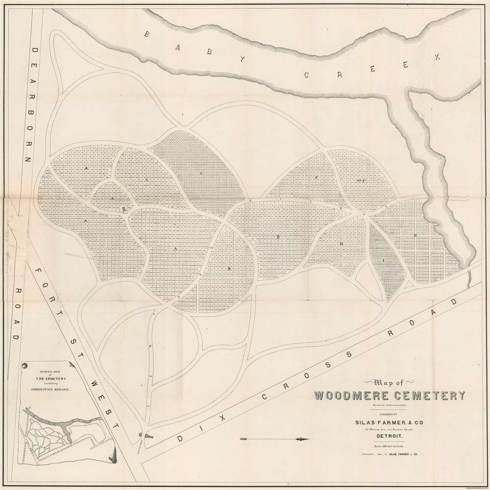 1886 Silas Farmer Map of Woodmere Cemetery, Detroit, Michigan