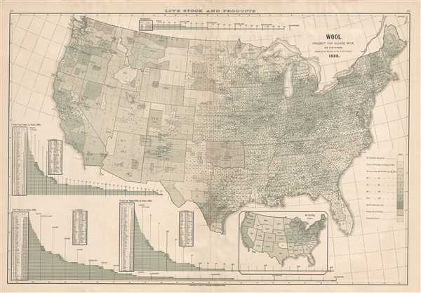 Wool. Product Per Square Mile, By Counties. 1880. - Main View