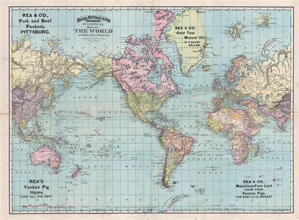 1892 Map Of The World.Rand Mcnally And Co S Indexed Statistical Map Of The World On