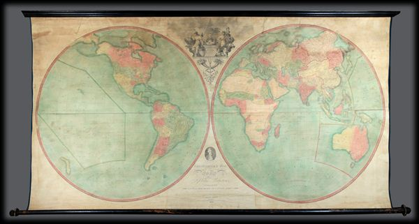 Arrowsmith's Map of the World on a Globular Projection, Exhibiting particularly the Nautical Researches of Captain James Cook, with all the recent Discoveries to the present Time, The Whole Engraved under the immediate Superintendence of, corrected and improved , by Samuel Lewis, Geographer. - Main View