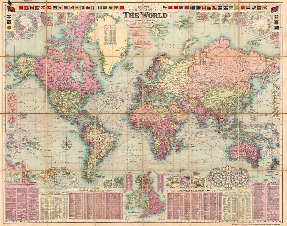 Bacon's New Chart of the World. Mercator's Projection. - Main View