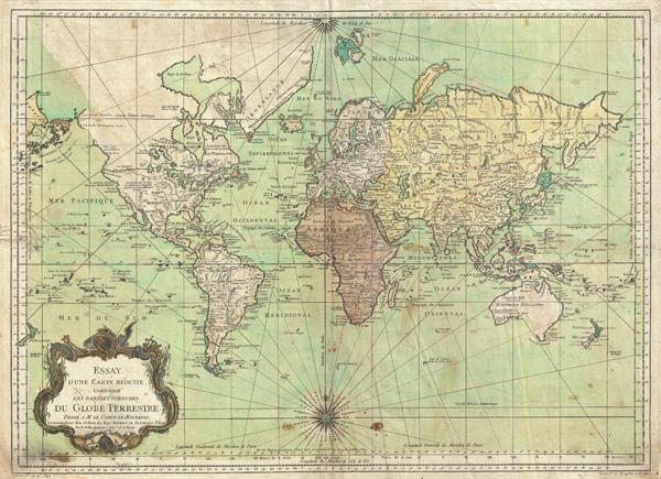 Essay d'une Carte Reduite, Contenant Les Parties Connuees du Globe Terrestre.