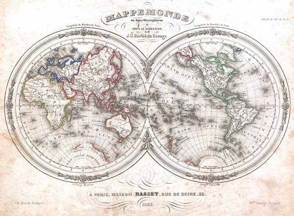 Mappemonde en deux Hemispheres.