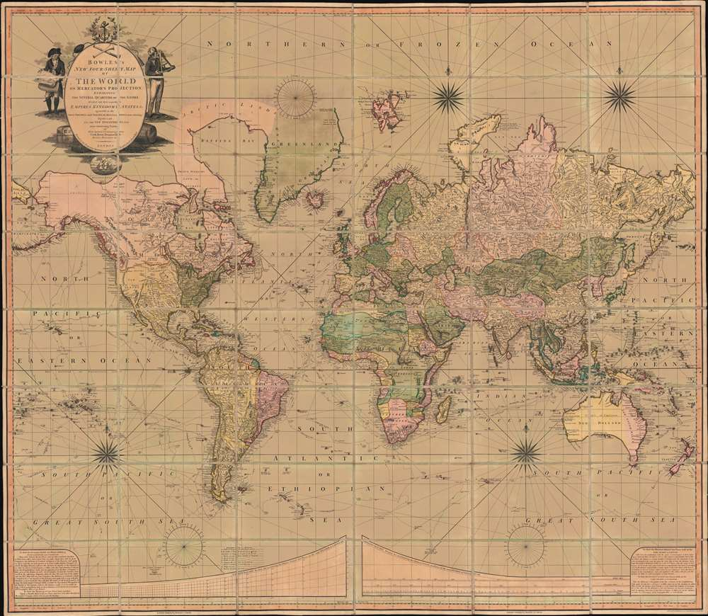 1801 Bowles and Carver 'Four Sheet' Wall Map of the World