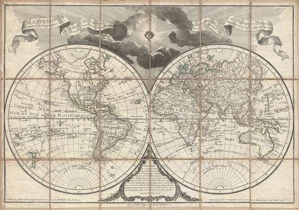 Mappemonde a l'usage de l'Instr.on par Guillaume Delisle et Philippe Buache Premiers Geographes et de l'Academie des Sciences. Revue e Augmentee des Nles. Decouvertes par Dezauche en 1808.