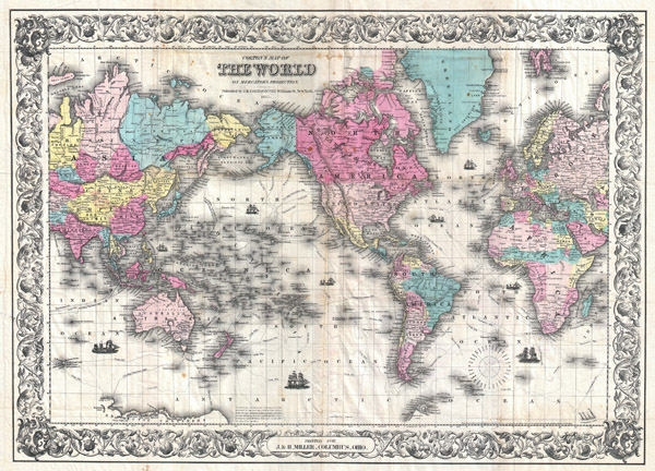Colton's Map of the World on Mercator's Projection. / Printed for J. & H. Miller, Columbus, Ohio. - Main View
