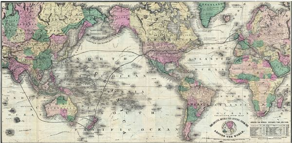 Crofutt's New Map of the Trans-Continental, American, and Trans-Continental, European, Route Around the World.