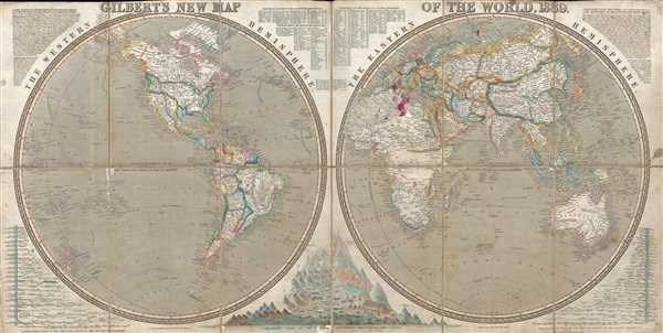 Gilbert's New Map of the World, 1839.