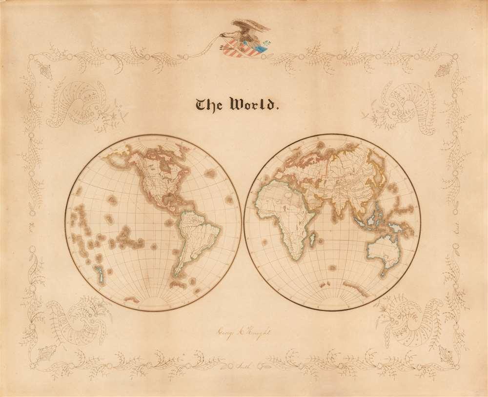 1865 American School Boy Patriotic Manuscript Map of the World