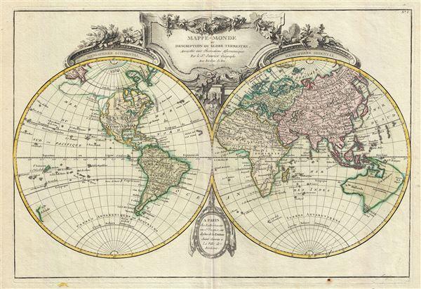 mappe monde ou description du globe terrestre assujettie aux observations astronomiques. Black Bedroom Furniture Sets. Home Design Ideas