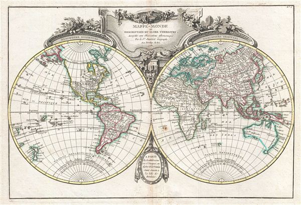 Mappe-Monde ou Description du Globe Terrestre, Assujettie aux Observations Astronomiques.