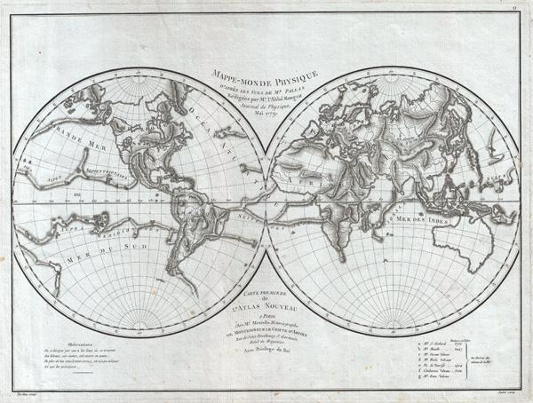 Mappe-Monde Physique d'Apres les Vues de Mr. Pallas Redigees par Mr. l'Abbe Mongez Journal de Physique, Mai, 1779.