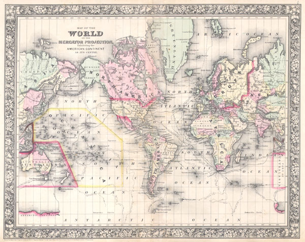 Map of the World on the Mercator Projection, Exhibiting the American Continent at its Centre. - Main View