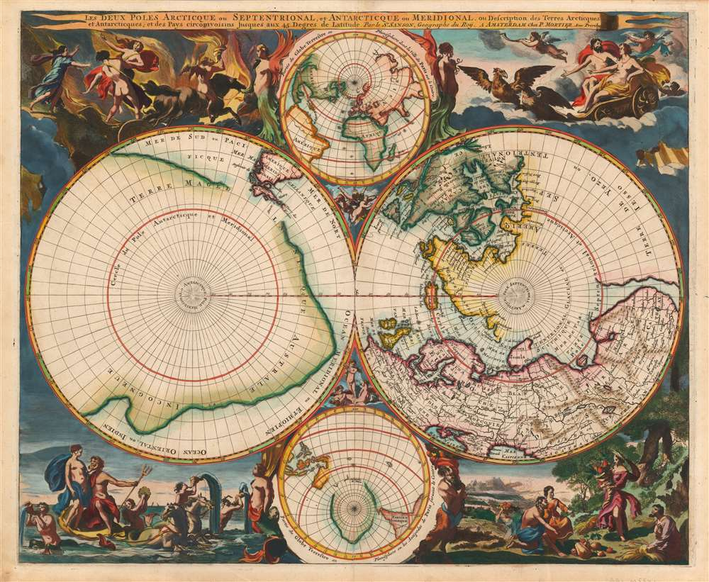 1696 Pierre Mortier Polar Projection Map on Two Hemispheres