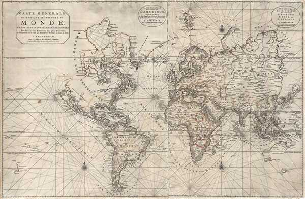 1703 Pierre Mortier Nautical Chart or Map of the World (Insular California)