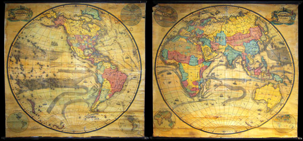 Pelton's Political & Physical Map of the Western Hemisphere.  / Pelton's Political & Physical Map of the Eastern Hemisphere.