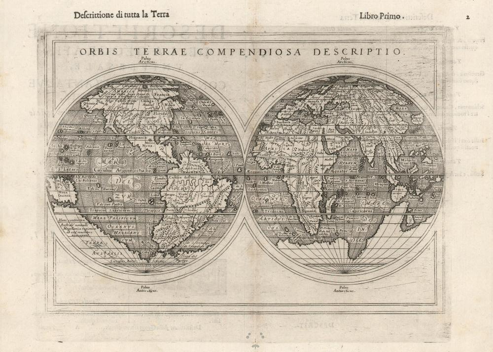 1598 Rosaccio Double Hemisphere Map of the World
