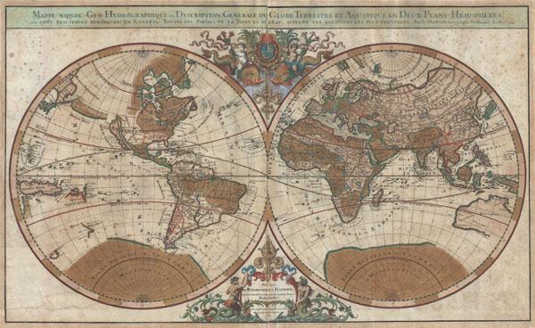 Mappe-monde Geo-Hydrographique ou Description Generale du Globe Terrestre et Aquatique en Deux-Plans-Hemipsheres ou son Exactement Remarquees en General Toutes les Parties de la Terre et de L'Eau, suivant les Relations les plus Nouvelles, par le S. Sanson Geographe Ordinaire du Roy 1691.
