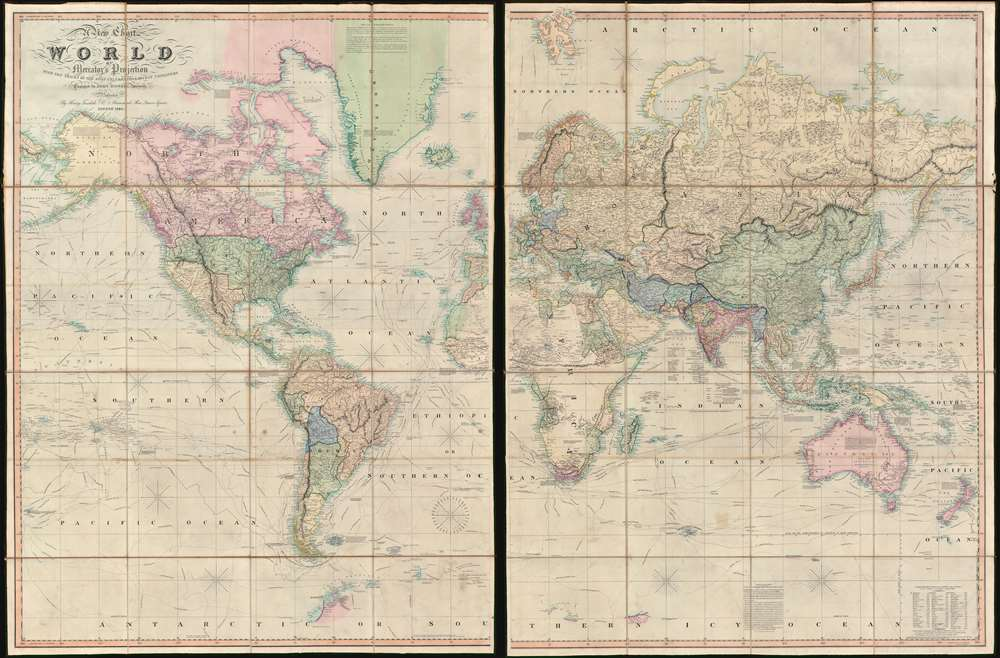 1845 Teesdale Dissected Library Map of the World (w/ Republic of Texas)