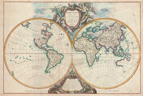 Orbis Vetus in utraque continente juxta mentem Sansonianam distinctus, nec non observationibus astonimicis redactus, accurante Robert de Vaugondy, Geography Regis ordinario, 1752.