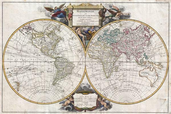 Mappemonde ou Description du Globe Terrestre dresse sur les memories les plus nouveaux et assujettie aux observations astronomiques, avec les Routes, et Decouvertes du Celebre Captaine Cook.