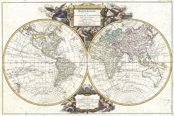 Mappe Monde suivant la projection des cartes reduites.