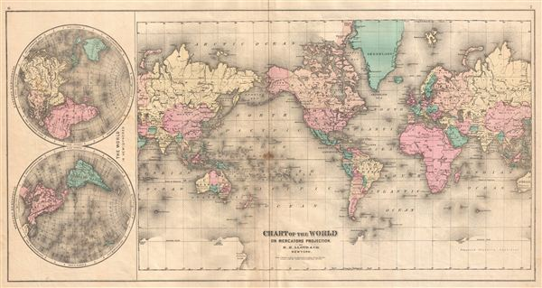 Chart of the World on Mercators Projection by H.H. Lloyd & Co. New York.