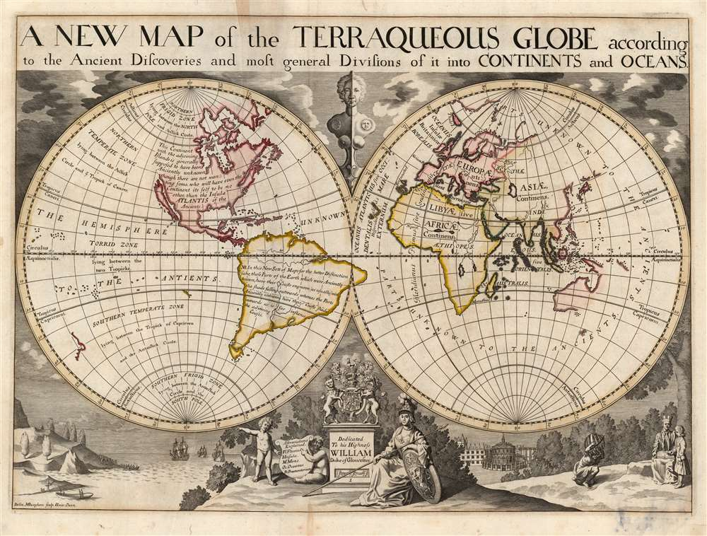A New Map of the Terraqueous Globe according to the Ancient Discoveries and most general Divisions of it into Continents and Oceans. - Main View