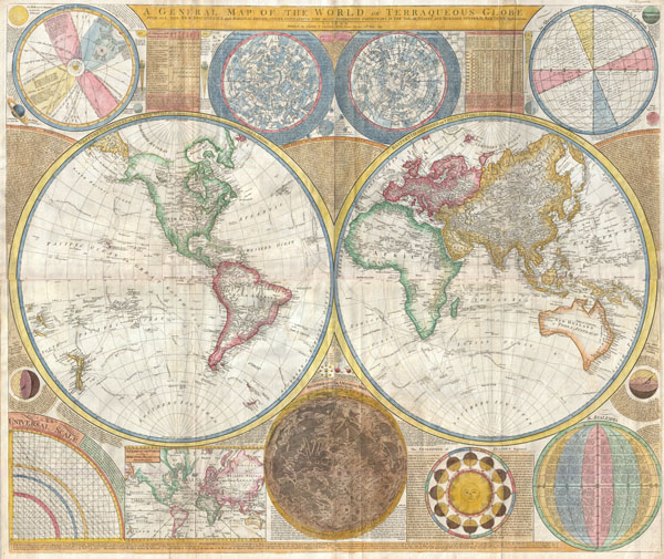 A General Map of the World, or Terraqueouis Globe with all the New Discoveries and Marginal Delineations, Containing the Most Interesting Particulars in the Solar, Starry and Mundane System. - Main View
