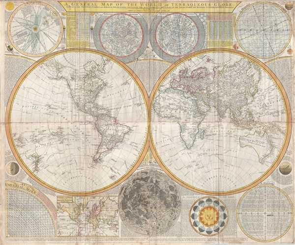 A General Map of the World, or Terraqueous Globe with all the New Discoveries and Marginal Delineations, Containing the Most Interesting Particulars in the Solar, Starry and Mundane System, by Sam. Dunn, Mathematician.