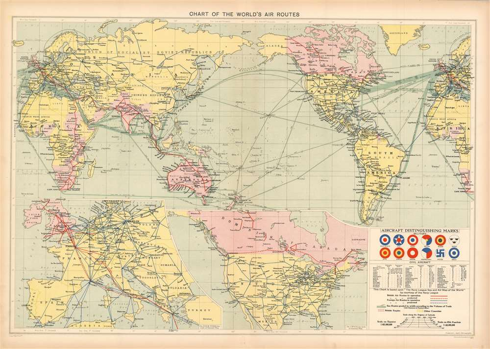 Chart of the World's Air Routes. - Main View