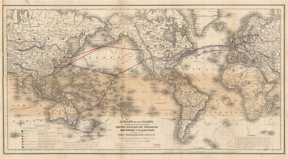 A Chart of the Globe Showing the Several Places Where Coffee is or May be Produced and Where it is also used together with The Telegraph Lines in operation or contemplated for completing the Circuit of the Globe. - Main View