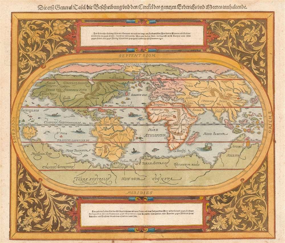 Die erst General Tafel... Ptolemeisch General Tafel... Europa... Asia... Africa... Die newen Inseln. - Alternate View 1